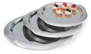 Vollrath 82097 Round Stainless Steel Serving Trays