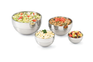 Vollrath 46669 Satin Finish Double-Wall Bowls with Contrasting Mirror Finish Ring
