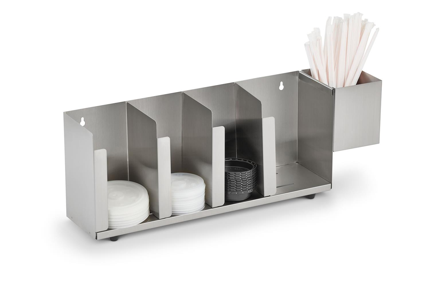 Vollrath CTL4 Adjustable Lid Organizer with Straw Holder, Stainless Steel