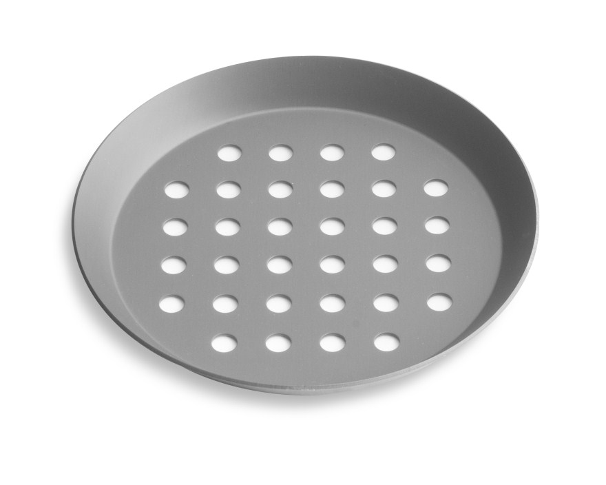 "8"" Perforated Press Cut Pizza Pan with Hard Coat Anodized Finish Vollrath PC08PHC 