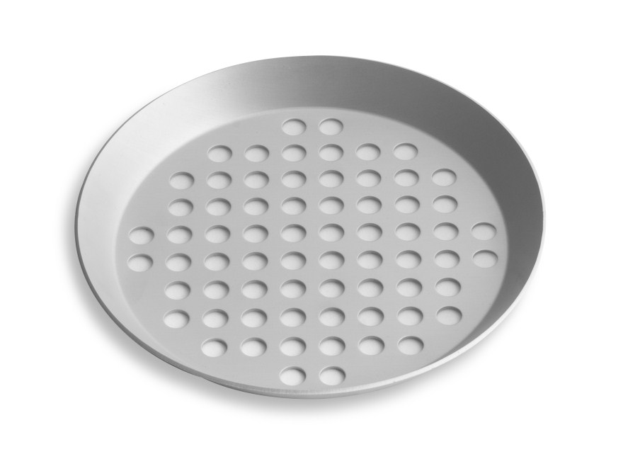 "7"" Extra Perforated Press Cut Pizza Pan with Clear Coat Anodized Finish Vollrath PC07XPCC 
