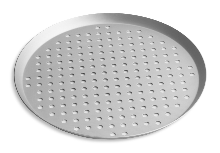 "12"" Perforated Press Cut Pizza Pan with Clear Coat Anodized Finish Vollrath PC12PCC 