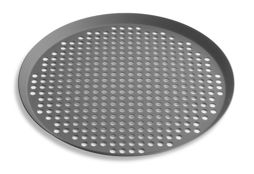 "12"" Extra Perforated Press Cut Pizza Pan with Hard Coat Anodized Finish Vollrath PC12XPHC 