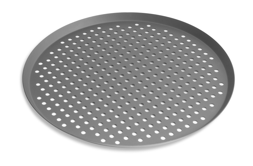 "18"" Perforated Press Cut Pizza Pan with Hard Coat Anodized Finish Vollrath PC18PHC 