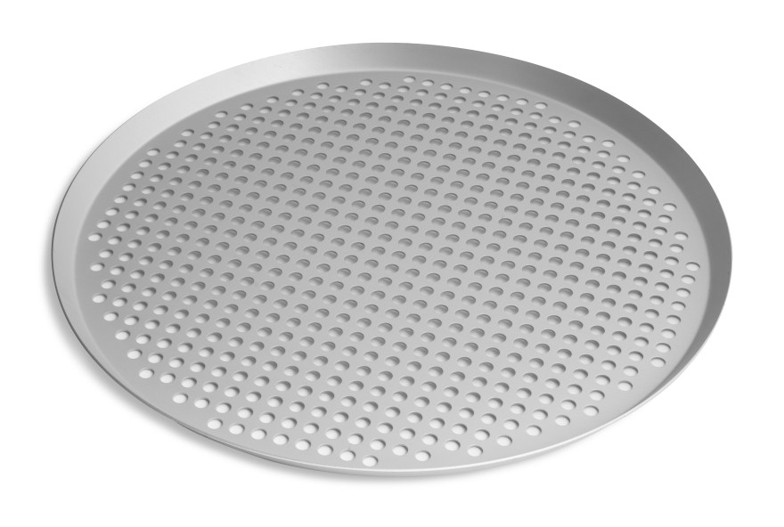 "16"" Extra Perforated Press Cut Pizza Pan with Clear Coat Anodized Finish Vollrath PC16XPCC 