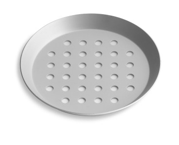 "10"" Perforated Press Cut Pizza Pan with Clear Coat Anodized Finish Vollrath PC10PCC 