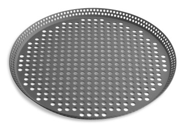 "10"" Fully Perforated Press Cut Pizza Pan with Hard Coat Anodized Finish Vollrath PC10FPHC 