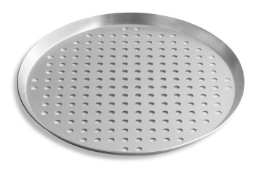 "10"" Perforated Press Cut Pizza Pan with Natural Finish Vollrath PC10PN 